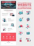 En mall för sidawebsitedesign vektor illustrationer