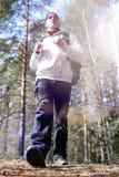 En man är en turist i en pinjeskog med en ryggsäck En fotvandra tr Arkivbilder