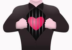 En man öppnar hans bröstkorgvisning inom hjärtan i en bur Begreppet av en person som bor utan förälskelse royaltyfri illustrationer