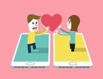 En man överförde förälskelsesinnesrörelsesymbolen till a-flickan på smartphonen Fotografering för Bildbyråer