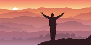 En man beskådar en solnedgång över panoraman av ett berglandskap vektor illustrationer