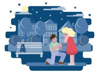 En man erbjuder att en kvinna ska få gift Nattstad, katter på bänken stock illustrationer