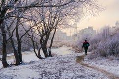 En man går tillbaka hem från vinterfisket Royaltyfria Foton