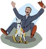 En man i en dräkt skrattar, medan rida en behandla som ett barnhäst vektor illustrationer