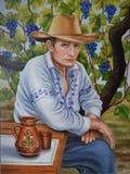En man i en hatt- och skjortamedborgare Royaltyfri Bild