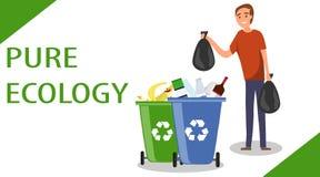 En man kastar påsar av avskräde i avfallet Begreppet av ansträngningen för renlighet Kampen för miljön Manthrowin stock illustrationer