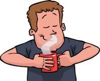 En man luktar kaffe vektor illustrationer