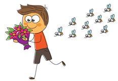 En man med en bukett av blommor skynda sig på ett datum vektor illustrationer