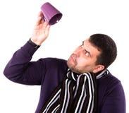 En man med en kupa Royaltyfria Foton