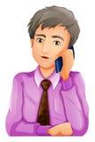 En man med en telefon vektor illustrationer