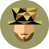En man med ett skägg och mustasch i hatten Gentlemannen jonglerar Arkivbilder