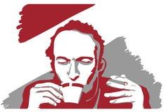 En man med kaffe och cigaretten royaltyfria bilder