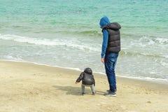 En man med en ung son går på stranden arkivbilder