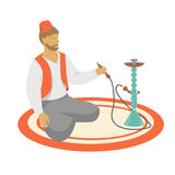En man med vattenpipan stock illustrationer