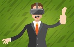 En man med virtuell verklighethörlurar med mikrofon Fotografering för Bildbyråer