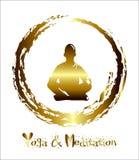 En man mediterar abstrakt bakgrund för guld, yoga stråle _ Buddistisk meditation, hinduisk meditation vektor Arkivbild
