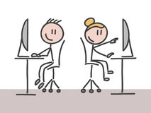 En man och en kvinna som arbetar i ett kontor stock illustrationer