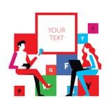En man och en kvinna meddelar på ett möte Vektorillustration som isoleras på vit bakgrund En konversation mellan två personer stock illustrationer