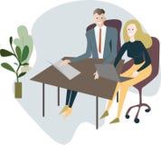 En man och en kvinna sitter på ett skrivbord med bärbara datorer, kontorspäls royaltyfri illustrationer