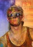 En man på kroppmålningfestivalen Royaltyfria Bilder
