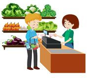 En man på livsmedelsbutiken royaltyfri illustrationer