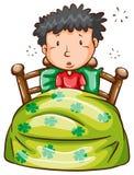 En man på sängen stock illustrationer
