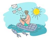 En man på en simningmadrass med en bärbar dator överför brev Royaltyfri Bild