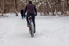 En man rider en cykel i vintern i snön royaltyfri foto