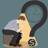 En man sitter i posera av tänkaren Sökandet för en lösning Arkivbild