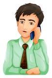 En man som använder en mobiltelefon royaltyfri illustrationer