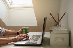 En man som cyberloafing/arbeten på en bärbar datordator i en hemtrevlig inrikesdepartementet royaltyfri bild
