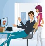 En man som fungerar på en dator Stock Illustrationer