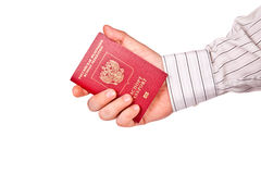 En man som rymmer ett pass Royaltyfria Bilder