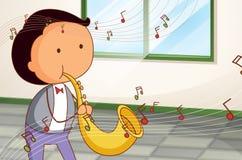 En man som spelar en trumpet royaltyfri illustrationer
