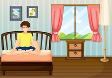 En man som utför yoga inom hans rum Arkivbild