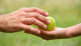 En man tar en Apple som ligger på en hand för kvinna` s Utbyte, vänlighet, omsorg och förälskelse Flickan rymmer Apple och ger de arkivfilmer