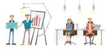 En man visar en finansiell graf En man och en kvinna på tabellen ser och lyssnar till högtalaren 3d business dimensional presenta Arkivbilder