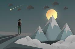 En manblick på maximumet av berget affärsbakgrund för stjärna vektor illustrationer