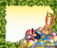 En manlig kanin i en lövrik ramgräns royaltyfri illustrationer