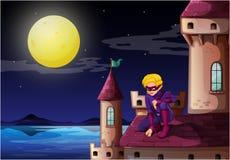En manlig superhero på slotten vektor illustrationer