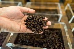 En mans bönor för kaffe för hand hällande till behållaren i backgren Royaltyfria Bilder