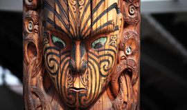 En maori som snider, stam- totem Royaltyfria Foton