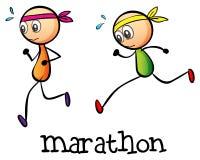 En maraton mellan två stickmen Arkivfoto