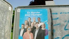 En Marche de 2019 del Parlamento Europeo de la elecci?n carteles de los candidatos metrajes