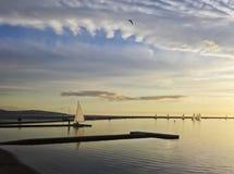 En Marine Lake på skymning, västra Kirby Royaltyfri Fotografi