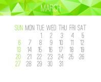 En marzo de 2016 calendario mensual Fotografía de archivo