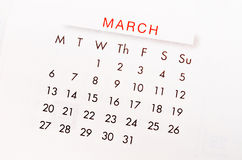 En marzo de 2017 página del calendario foto de archivo