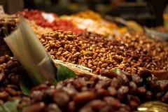 En matmarknad i Barcelona Arkivbild