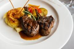 En maträtt av lammbiff Royaltyfria Foton