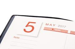 en mayo de 2017 página del calendario Foto de archivo